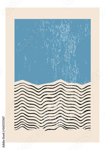 Minimal 20s geometric design poster, vector template with primitive shapes eleme Fototapeta