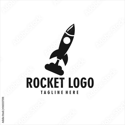 rocket logo silhouette icon design