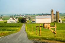 Road Leading To An Amish Farming Community Near Intercourse, Pennsylvania.