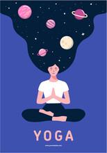 Woman Sitting In Yoga Lotus Po...