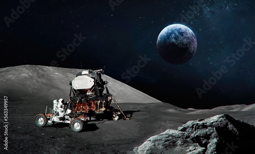 Astronaut on Moon surface Wallpaper Mural