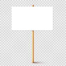 Blank Protest Sign With Wooden...