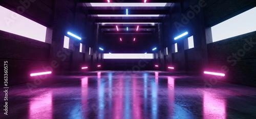 Fotografía Large Sci Fi Futuristic Elegant Modern Warehouse Purple Blue Laser Beams Pillars