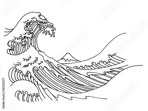 Tela Big wave of Kanagawa vector illustration