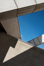 Minimalist Photo Of Geometric Shadows And  Shapes Created By Sunlight And Parts Of A Building.