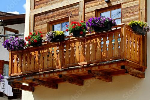 balcone fiorito a Varena (Trento) Canvas Print
