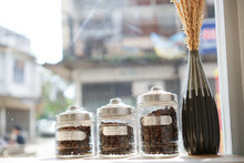 Roasted Coffee Beans In Jars O...