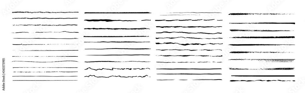 Fototapeta Set of artistic pen brushes. Vintage doodle underlines. Hand drawn grunge strokes. Scribble marker borders, sketch underlines. Vector illustration