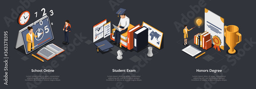 Fototapeta Concept Of Online Education. Students Study Remotely. Characters Study At Online School Or College Using Laptop And Tablet, Pass The Exam And Get Honors Degree. Isometric 3D Vector Illustrations Set obraz