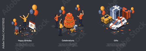 Fototapeta Concept Of Birthday Party. Celebration Ceremony. Set Of Illustrations With Characters Having Fun. Woman Jumping Of Happy, People Decorate Big Cake And Prepare Gifts. Isometric 3D Vector Illustration obraz