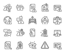 Warnings Line Icons. Caution Sign, Exclamation Mark, Risk Attention. Danger Alert, Error Caution, Urgent Information Line Icons. Safety Risk, Construction Warning, Documentation Error. Vector