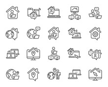 Work At Home Line Icons. Remot...