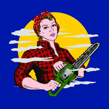Lumberjill With Chainsaw And P...