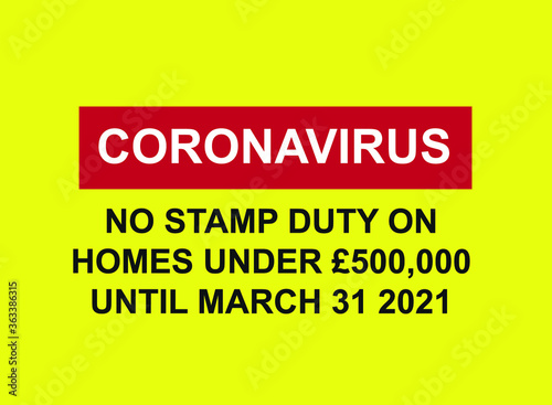 Coronavirus stamp duty update vector; cancellation of stamp duty on property sal Canvas