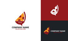 Pizza Talk Logo Design Template. Illustration Vector Graphic. Creative Concept For Food Discuss Logo. Food Forum Logo. Restaurants. Cooking Business. Cafe Communication And Menu.
