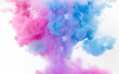 abstract colorful pink and blue dye in water on white background