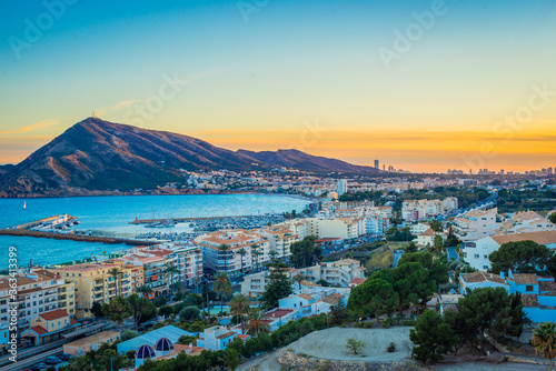 High Angle View Of City By Sea Against Sky Fototapeta