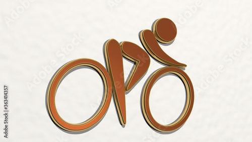 Photo CYCLIST SIGN made by 3D illustration of a shiny metallic sculpture on a wall with light background