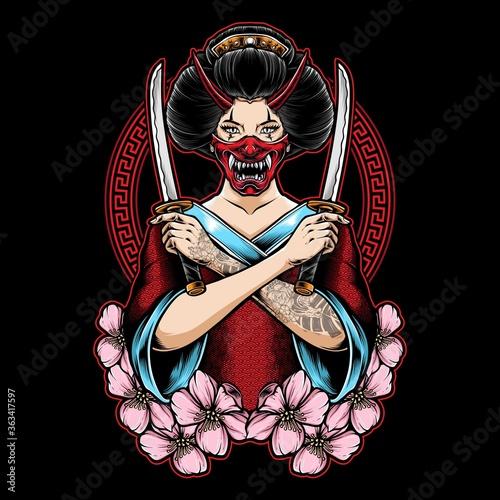 Tablou Canvas geisha holding katana vector illustration