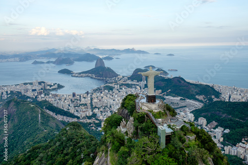 Aerial View Of Christ The Redeemer Overlooking Rio De Janeiro