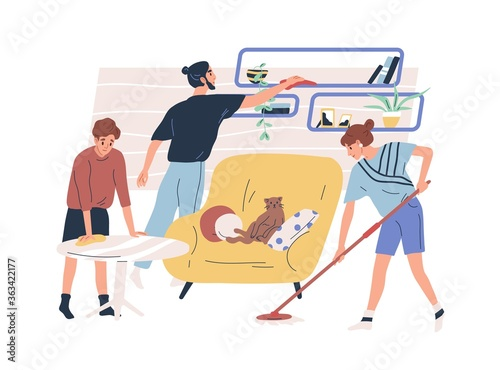 Fototapeta Family wiping dust and washing floor together vector flat illustration. Mother, father and son doing cleaning at home isolated on white. People enjoying housework use rag and mop obraz