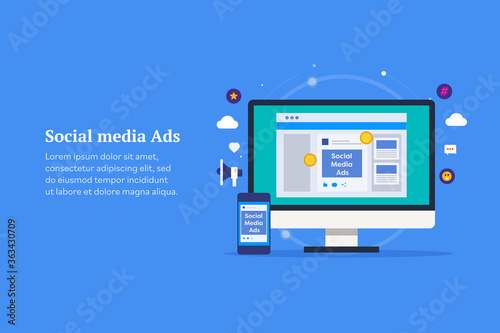 Social media advertising, digital paid content promotion on social network, targeting audience and customer through social media ads, digital branding concept Wallpaper Mural
