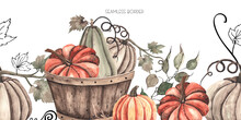 Watercolor Autumn Seamless Border With Colored Pumpkins, Leaves, Branches, Berries.