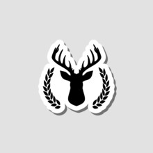 Hunting Trophy. Deer Head With Big Antlers In Laurel Wreath Sticker Isolated On Gray Background