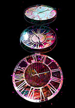 The Dials Of The Old Antique Classic Clocks On A Vintage Paper Background
