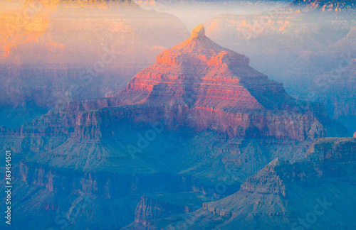 Fotografiet Digital Composite Image Of Mountain And Lake In Grand Canyon.