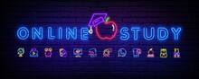 Online Study Design Neon Vecto...