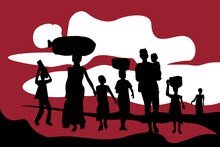 Silhouette Of Exodus Of Economically Backward People Carrying Their Luggages And Kids.