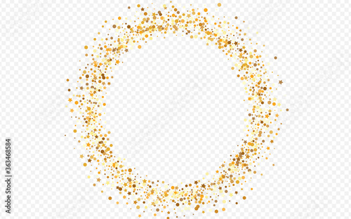 Obraz na plátne Golden Circle Modern Transparent Background.