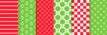 Christmas Seamless Pattern. Vector. Xmas New Year Backgrounds. Prints With Stripes, Balls, Snowflakes, Chess, Spirals And Circles. Set Holiday Textures. Festive Wrapping Paper. Red Green Illustration