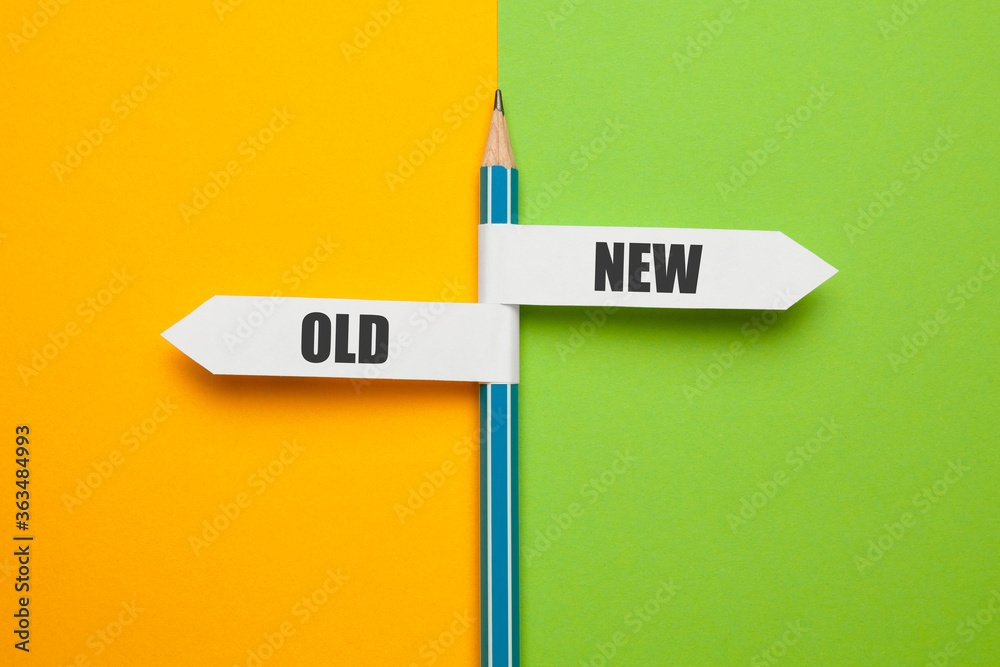 Fototapeta Pencil - direction indicator - choice of old or new way. Progress and new opportunities, motivation and evolution.