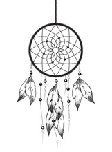 Dreamcatcher Isolated On White Background. Native American Style Ornament With Web, Beads And Feathers.