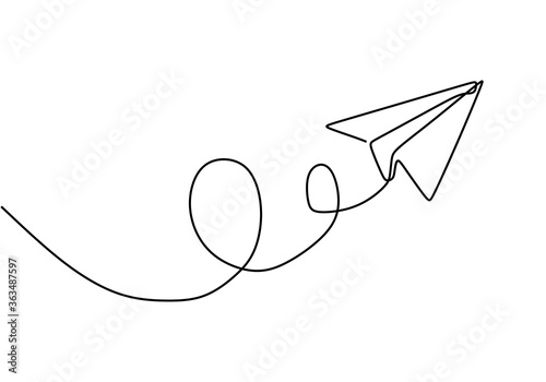 Foto Continuous one line drawing of Airplane with line path vector with minimalist design isolated in one white background