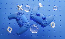 Digital Art Of Blue Gamepad Background 3D Rendering