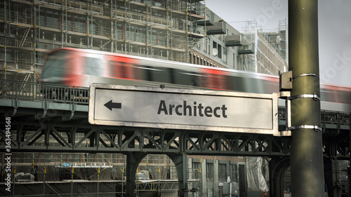 Fotografering Street Sign to Architect