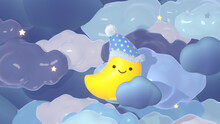 Cartoon Moon With Smiley Face Wearing A Nightcap In The Sky At Night. Cute Good Night Design. 3d Rendering Picture