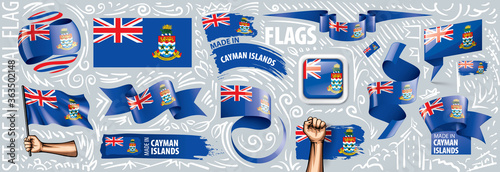 Photo Vector set of the national flag of Cayman Islands in various creative designs