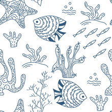 Seamless Pattern. Sea Floor, U...