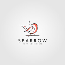 Line Art Sparrow Bird Logo Vector Illustration Design, Minimalist Bird Icon Symbol