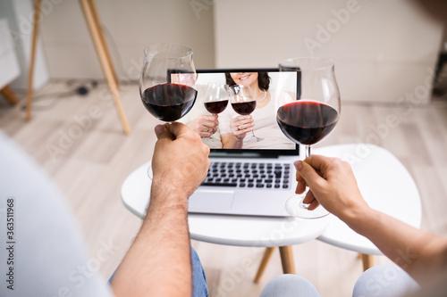 Virtual Wine Tasting Using Laptop. Online Party