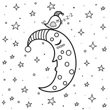 Coloring Page With Cute Sleepi...