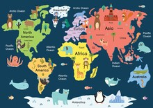 Map Of The World With Cute Animals. Colorful Cartoon Map