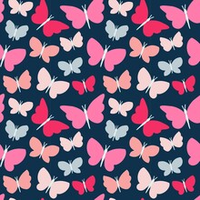 Red, Pink And Blue Butterfly V...