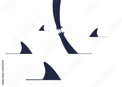 Fotografie, Obraz Help and empathy concept two hands helping one another to get out from sea full of sharks vector simple minimal illustration, care give aid, friendship understanding, support