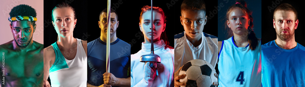 Fototapeta Portrait of athletes on multicolored background in neon light. Flyer, collage. Concept of human emotions, facial expression, sales, ad. Sport, movement, achievements. Tennis, basketball fencing