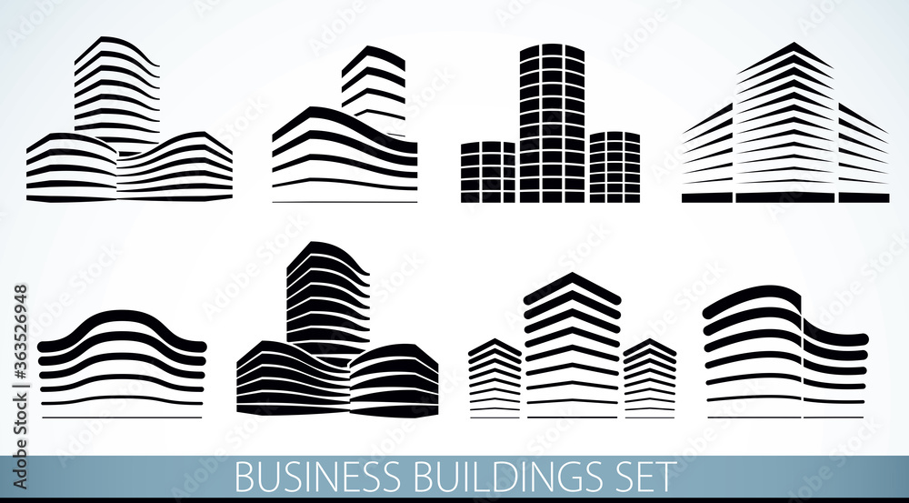 Fototapeta Futuristic buildings set, modern style vector architecture illustrations collection. Real estate realty business center designs. 3D business office facades in city. Can be used as a logos or icons.